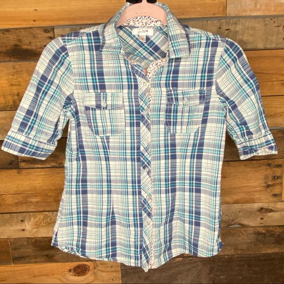 Teal, Navy & White Plaid Button-Up Top